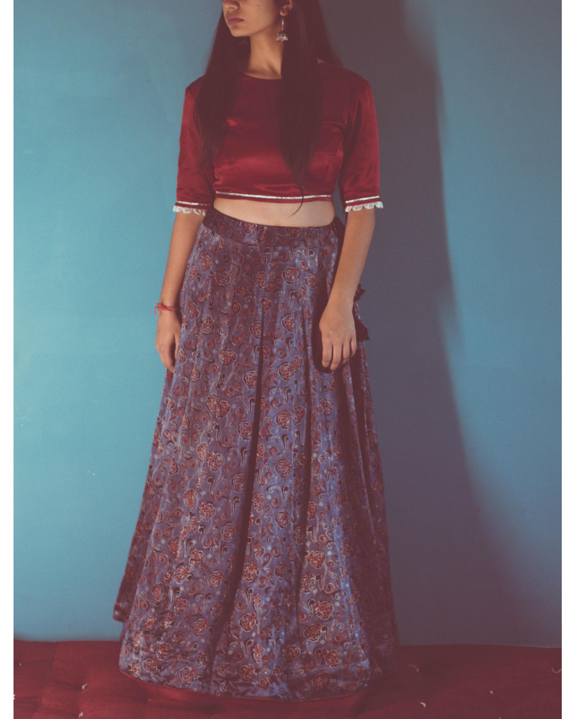Maroon silk blouse lehenga set with dupatta