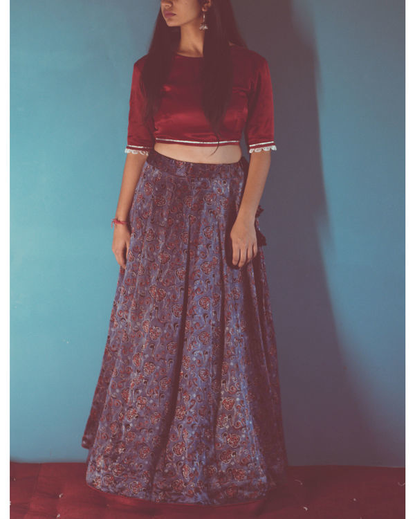 Maroon silk blouse lehenga set with dupatta