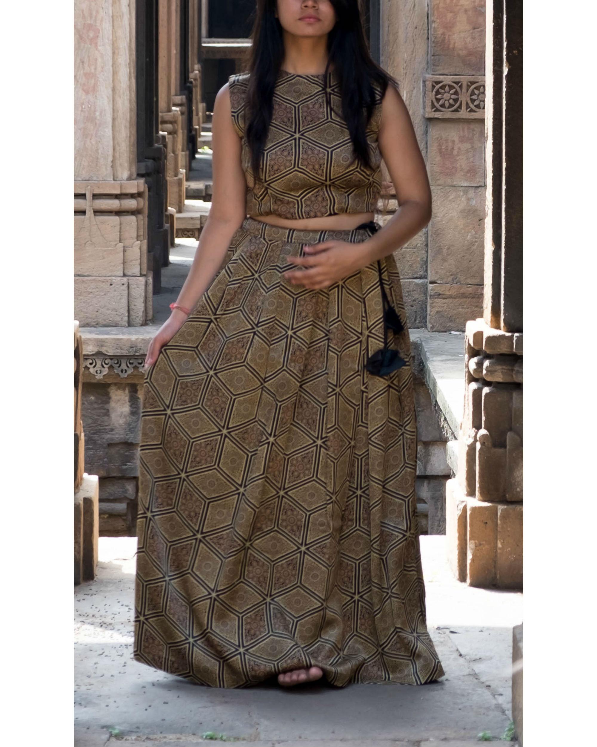 1e8700e2d3f12e Ajrakh blouse lehenga dupatta set by Alterego   The Secret Label