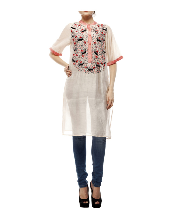 Cotton silk applique tunic