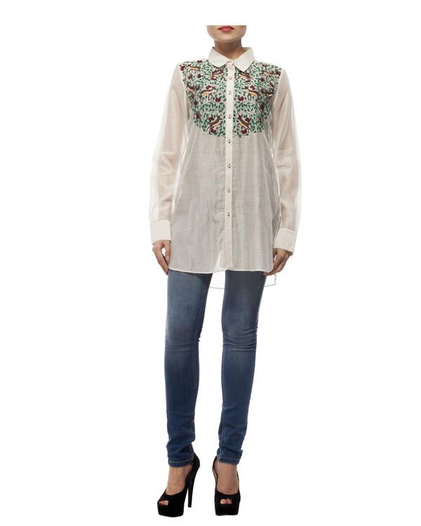Off white cotton silk shirt