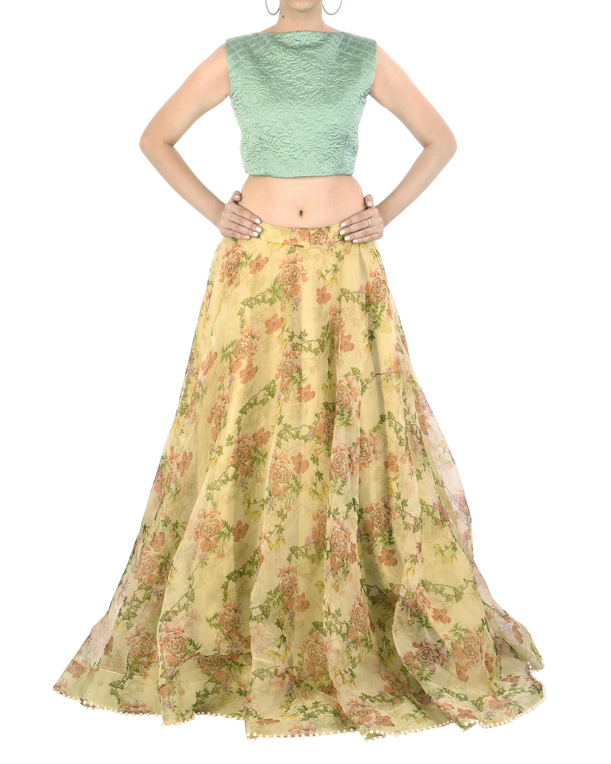 Floral organza lehenga skirt