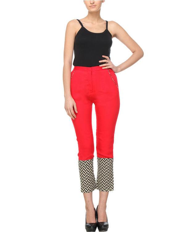 Red chevron pants
