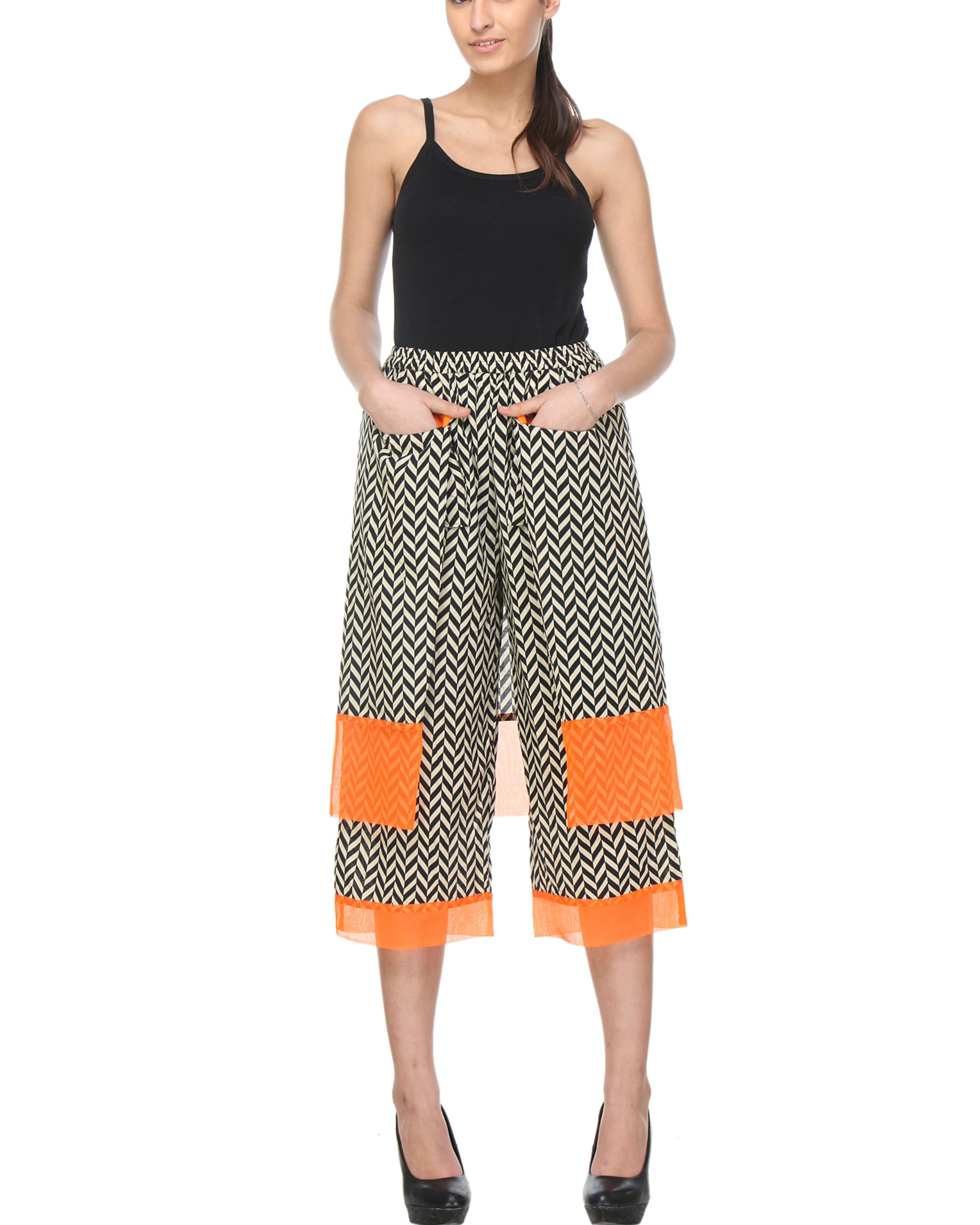 Double layered chevron pants