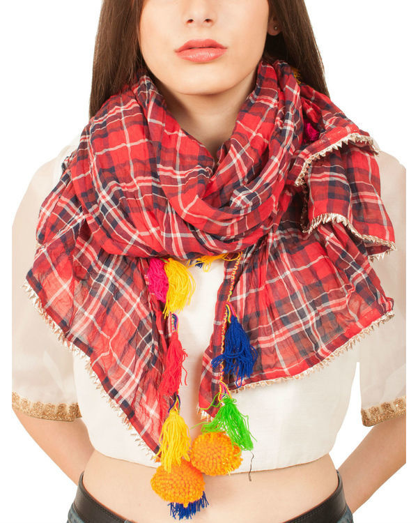 Red checkered scarf