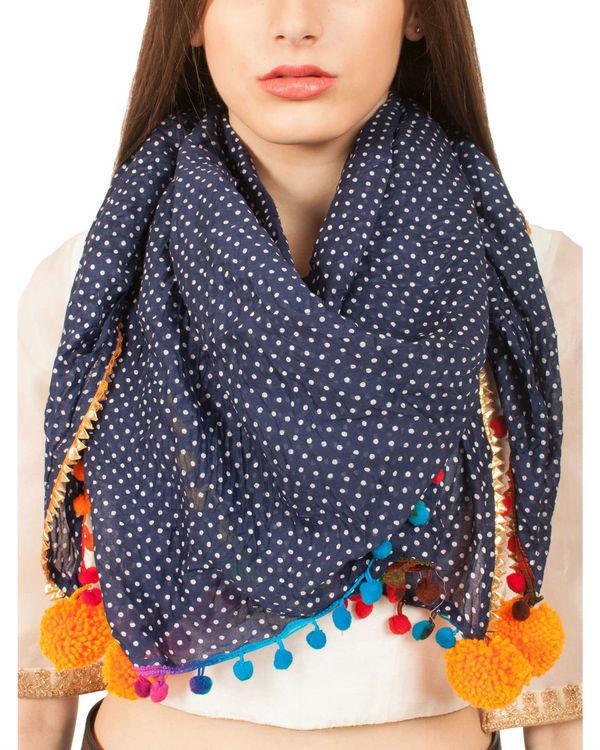 Navy polka scarf