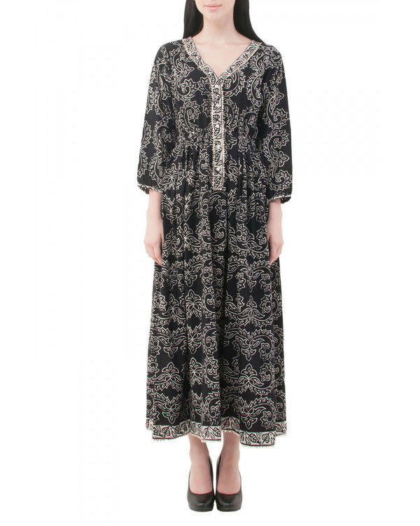 Black hand block printed dress