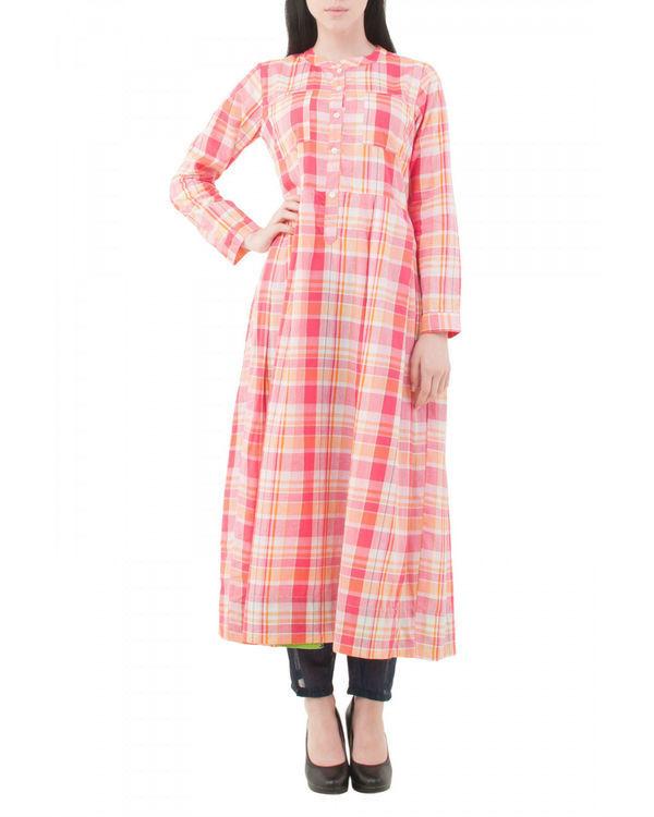 Pink checkered kurta