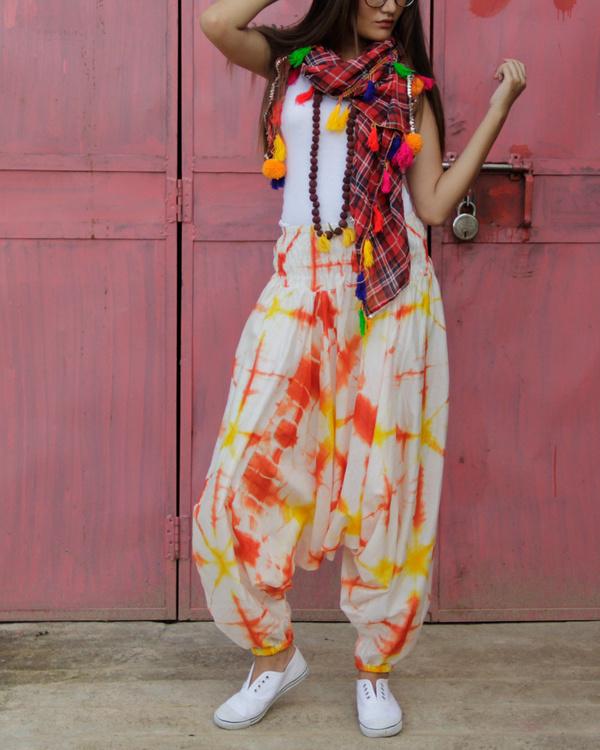 Orange shibori harem pants