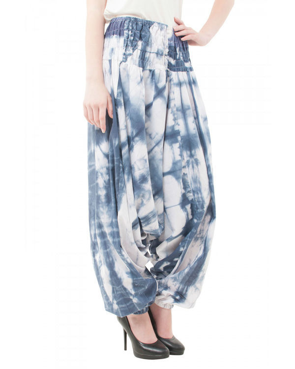 Abstract shibori harem pants