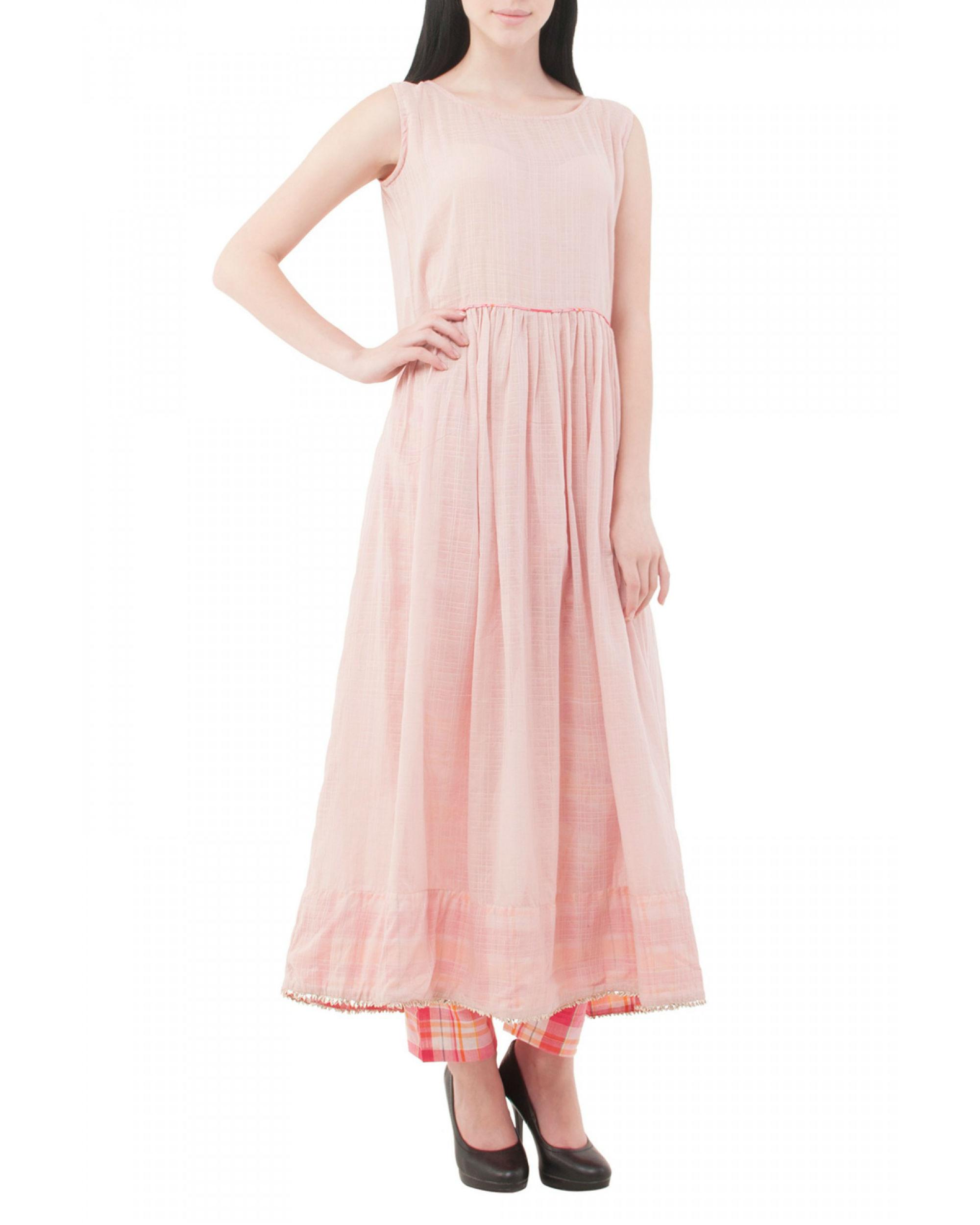 Pale pink long kurta with pants