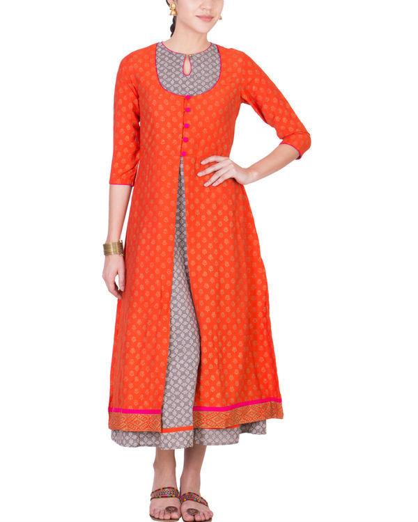 Set of grey dress with orange jacket