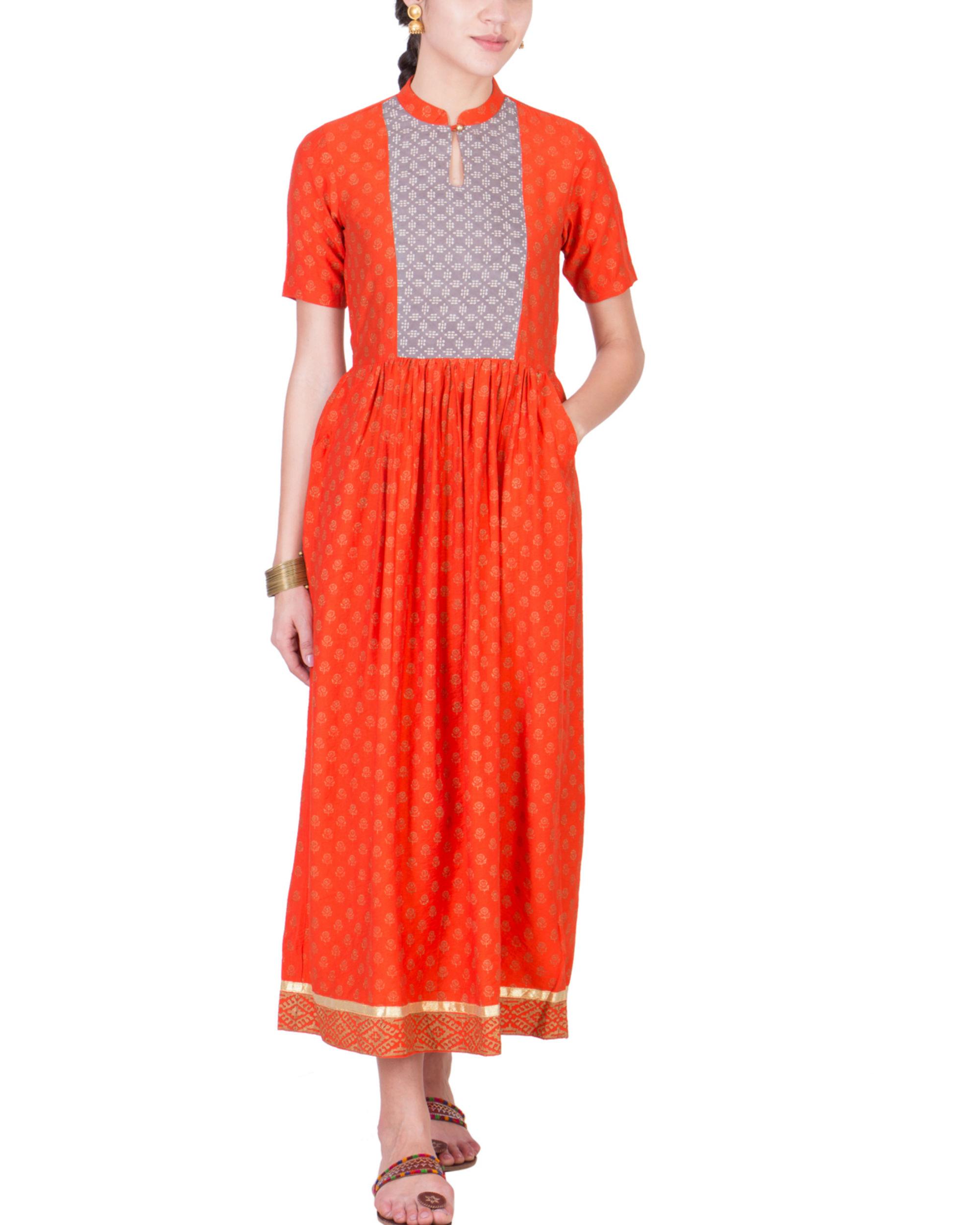 Orange yoke dress