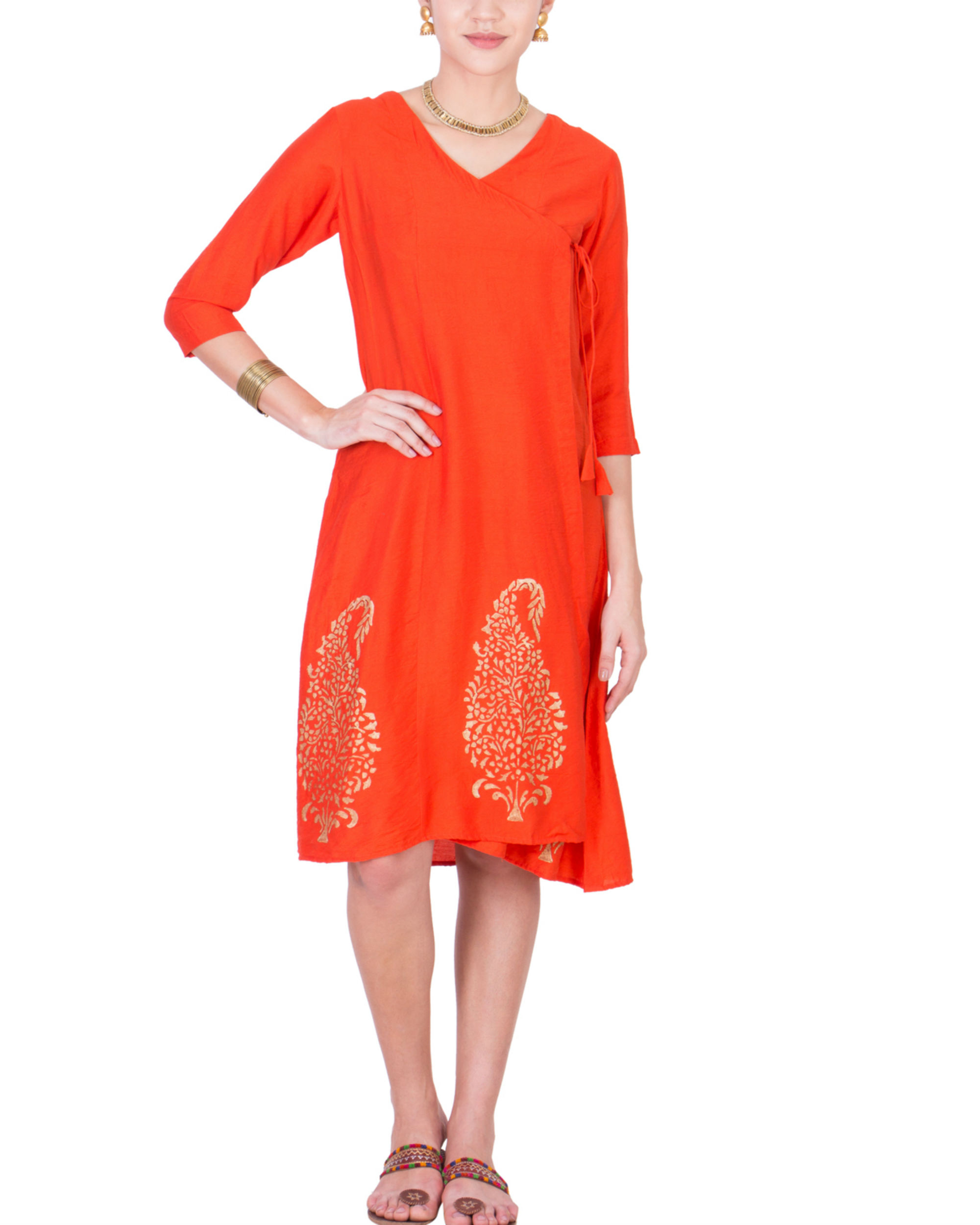 Orange angrakha dress