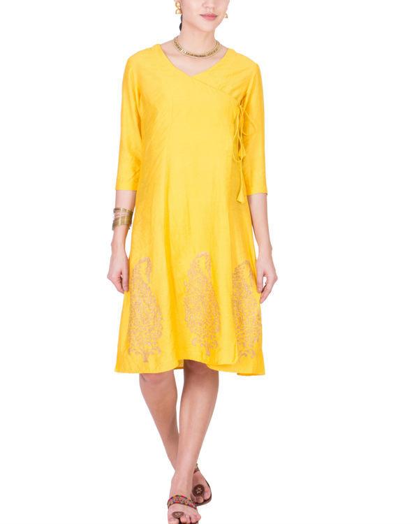 Yellow angrakha dress