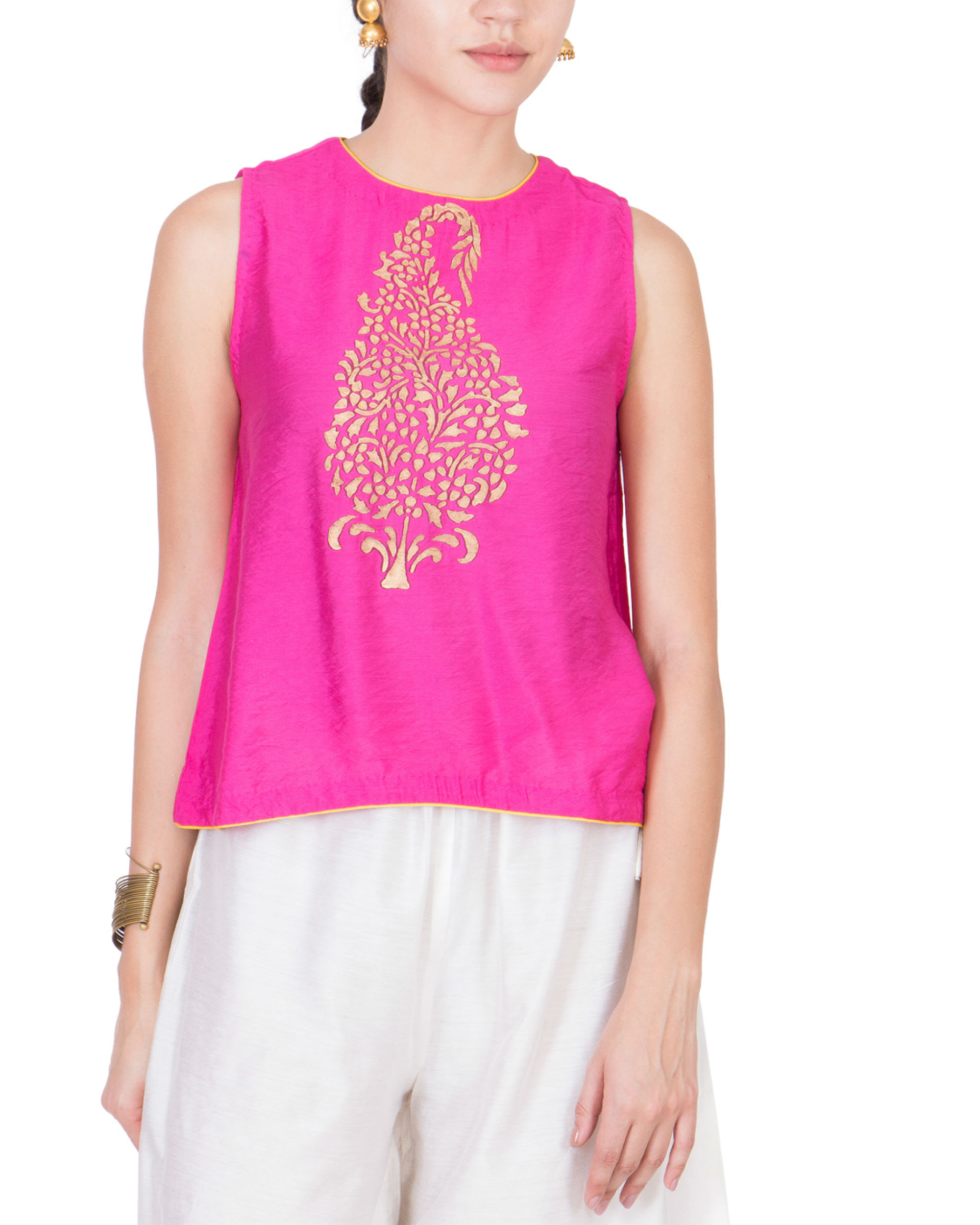 Pink block printed top