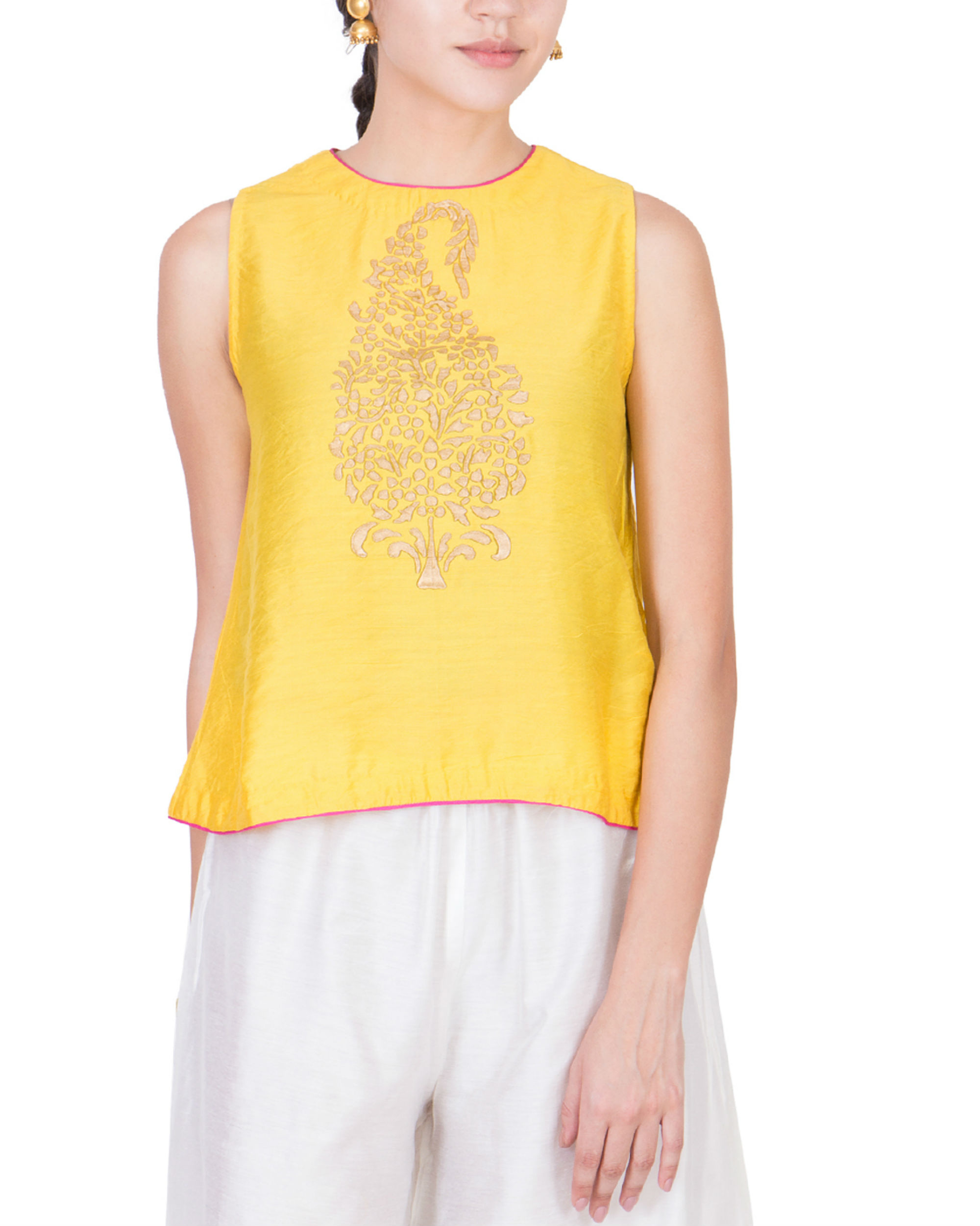 Yellow block printed top
