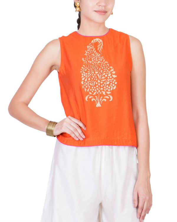 Orange block printed top