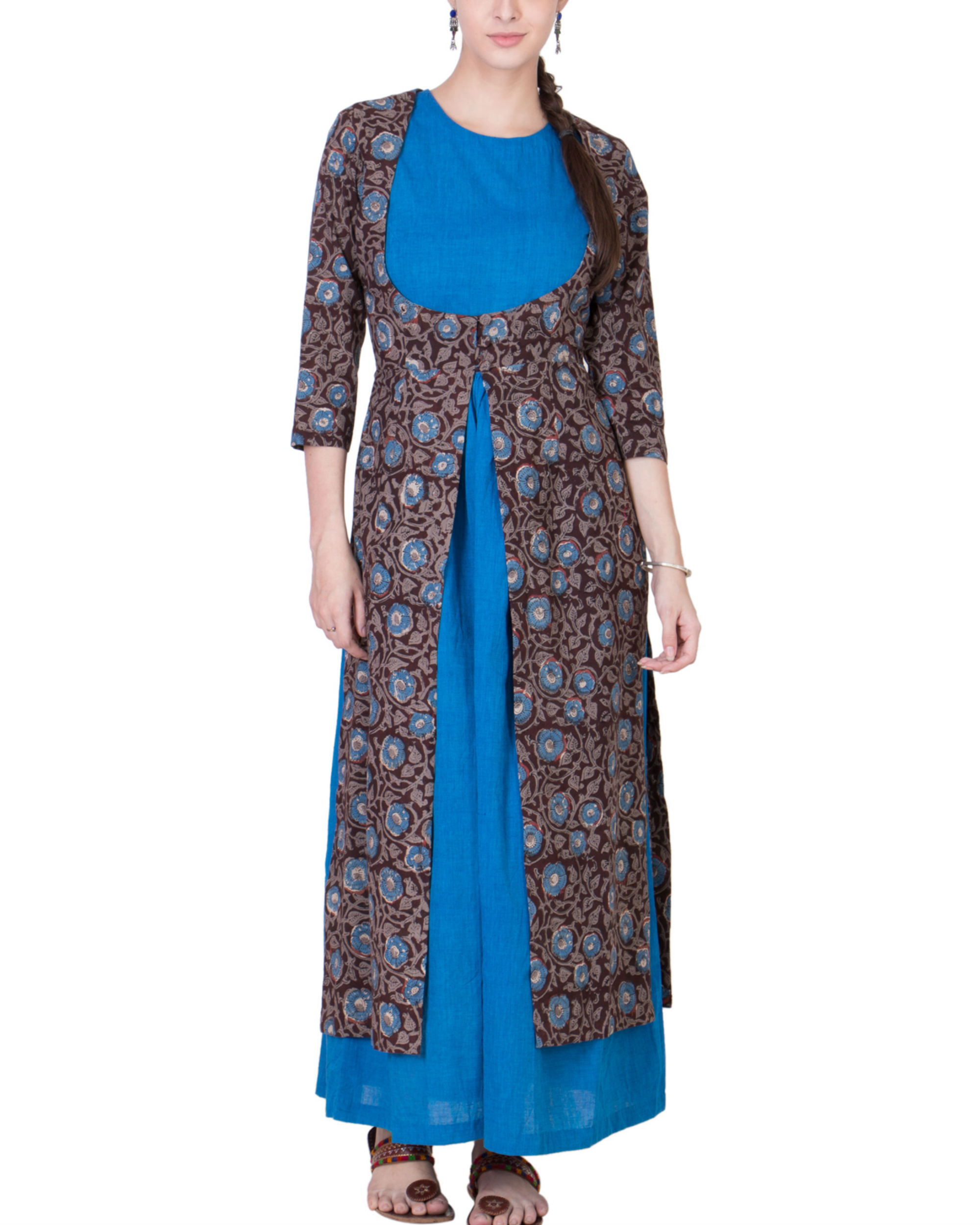 Set of blue dress with brown jacket