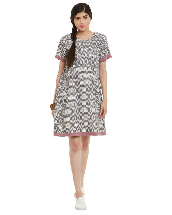 Grey maroon ikat dress