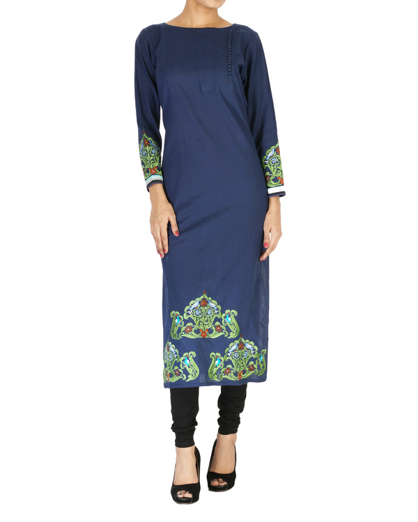 Navy embroidered kurta