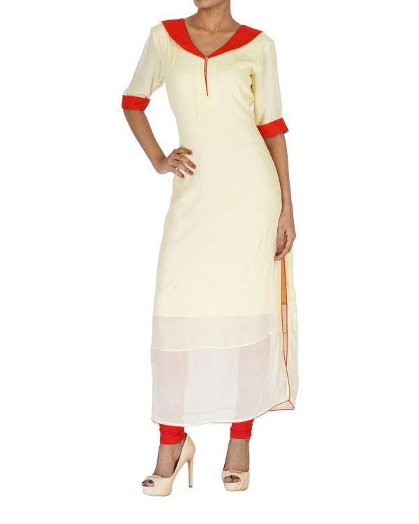 Sailor neck cream kurta