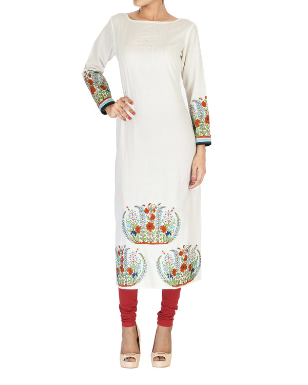 Off white embroidered cotton kurta
