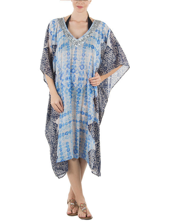 Blue rose kaftan