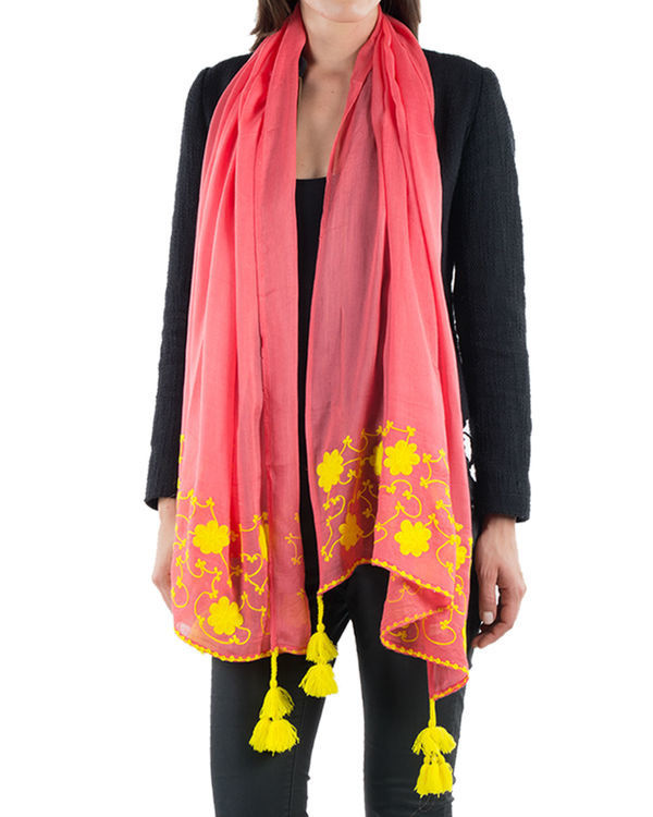 Coral embroidered stole