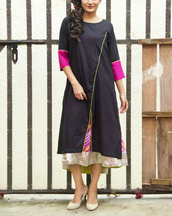 Set of black kurta with pink inner