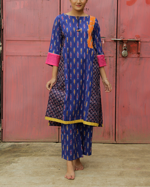 Set of indigo ikat kurta set