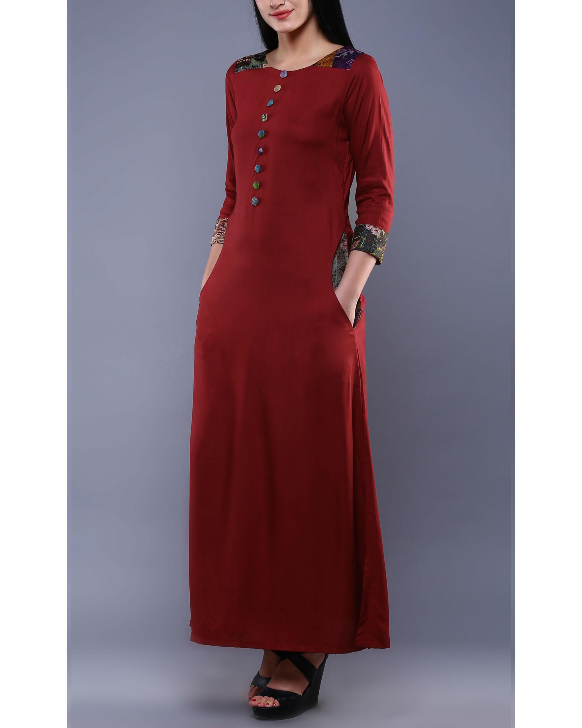 Maroon kantha dress
