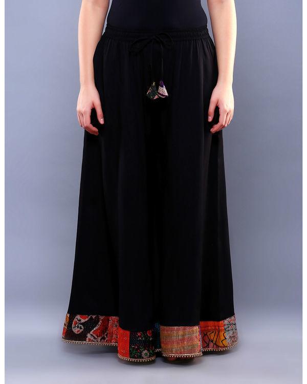 Black embellished palazzo pants