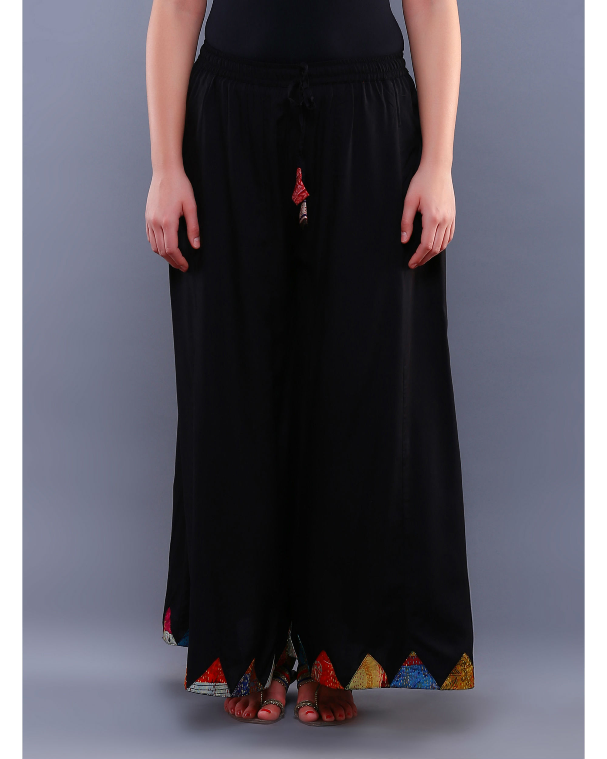 Black patch palazzo pants