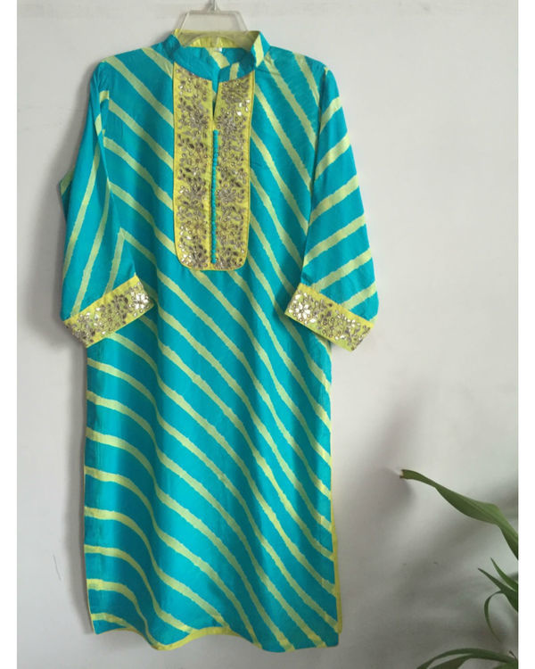 Blue leheriya kurta
