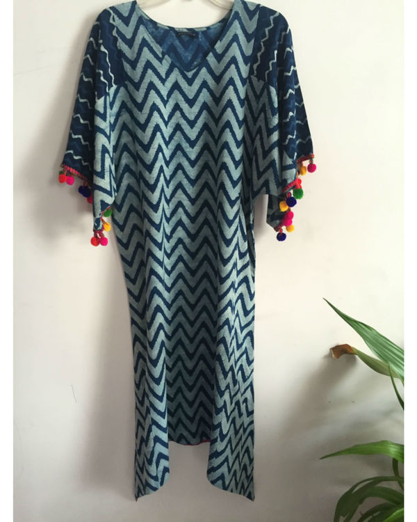 Indigo tassel kaftan dress