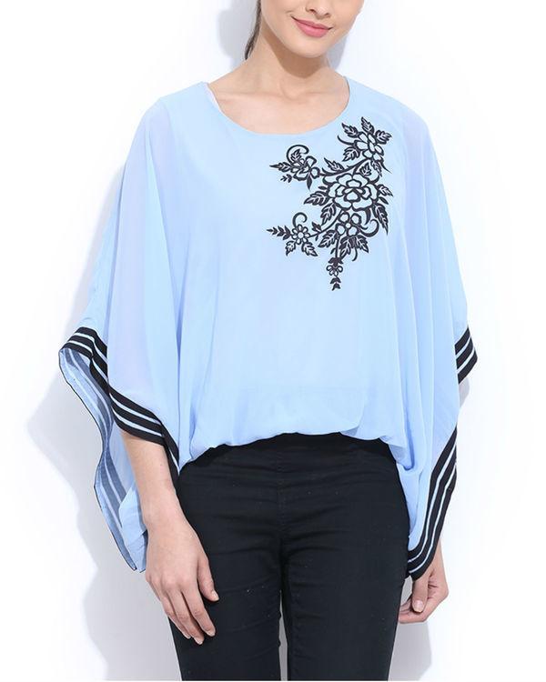 Blue applique poncho