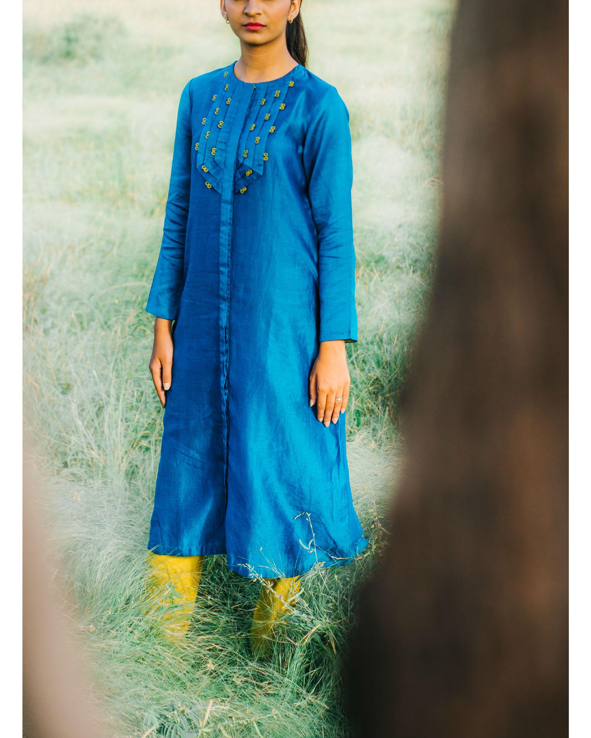 Blue pleated kurta