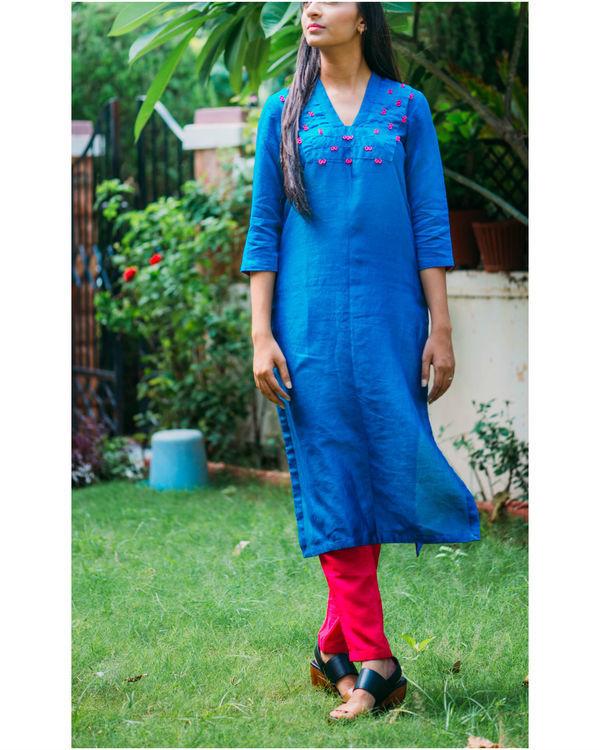 Blue chanderi pleated kurta