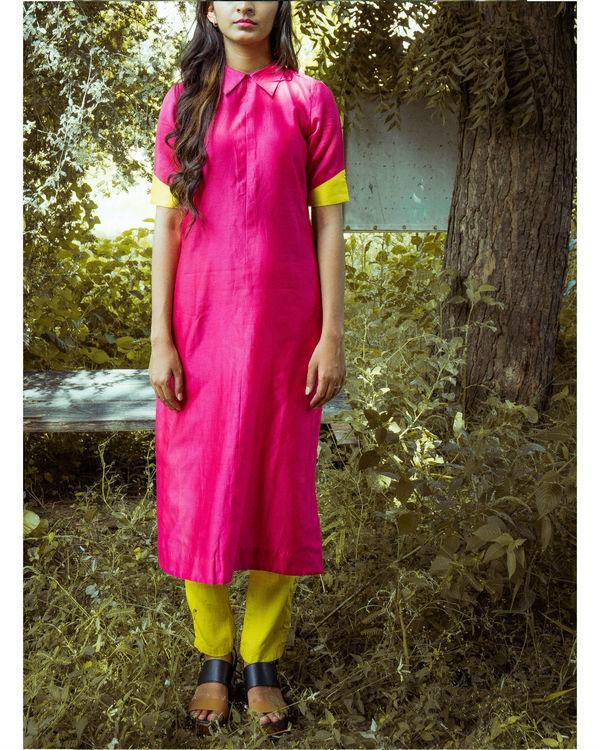 Pink and mustard kurta