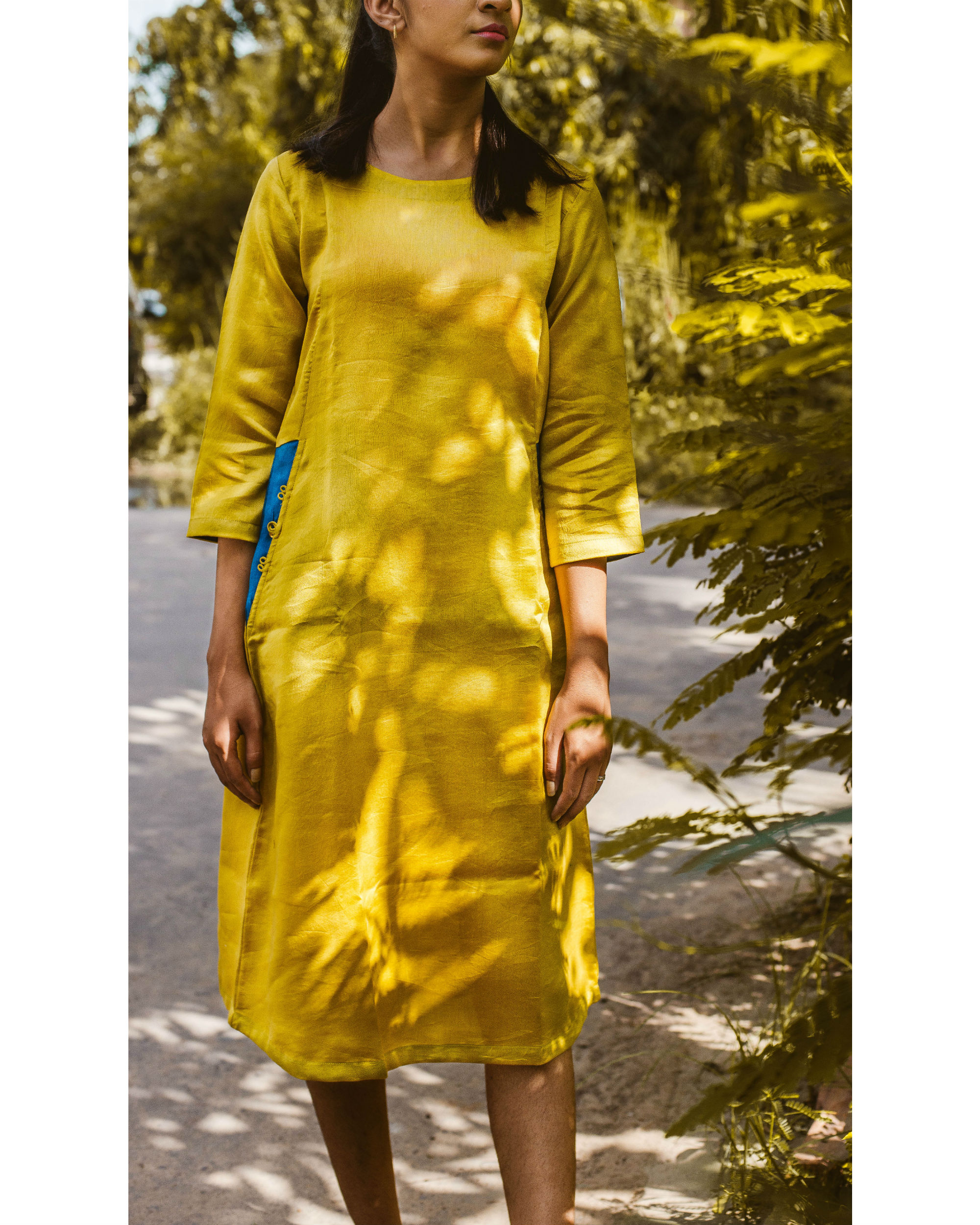 Yellow chanderi dress