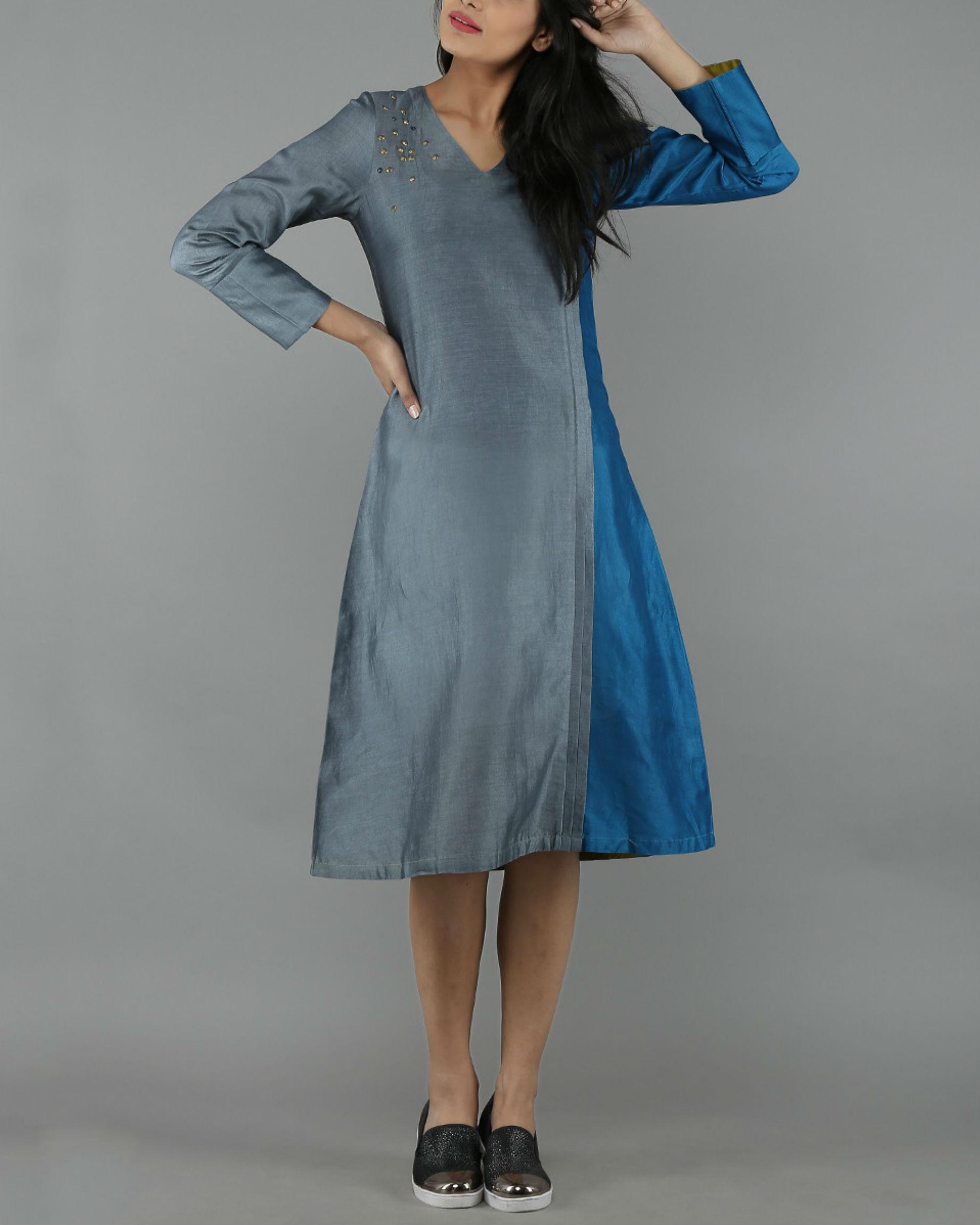 Blue and grey chanderi dress