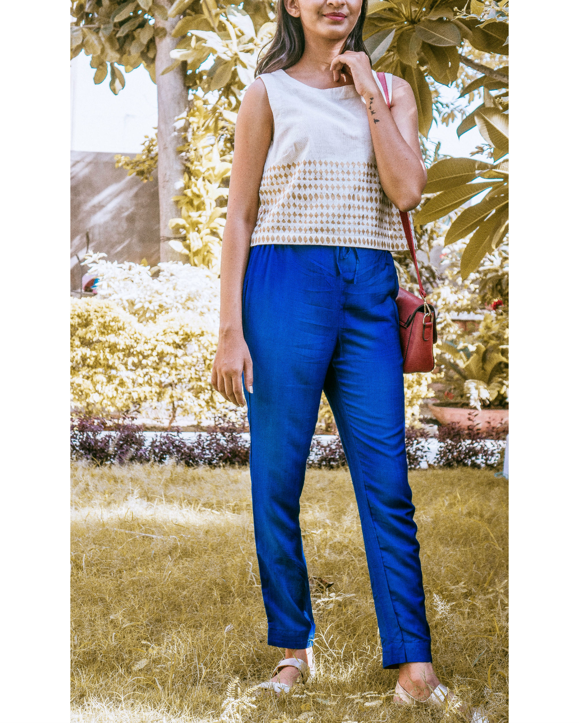 Blue pants with draw strings