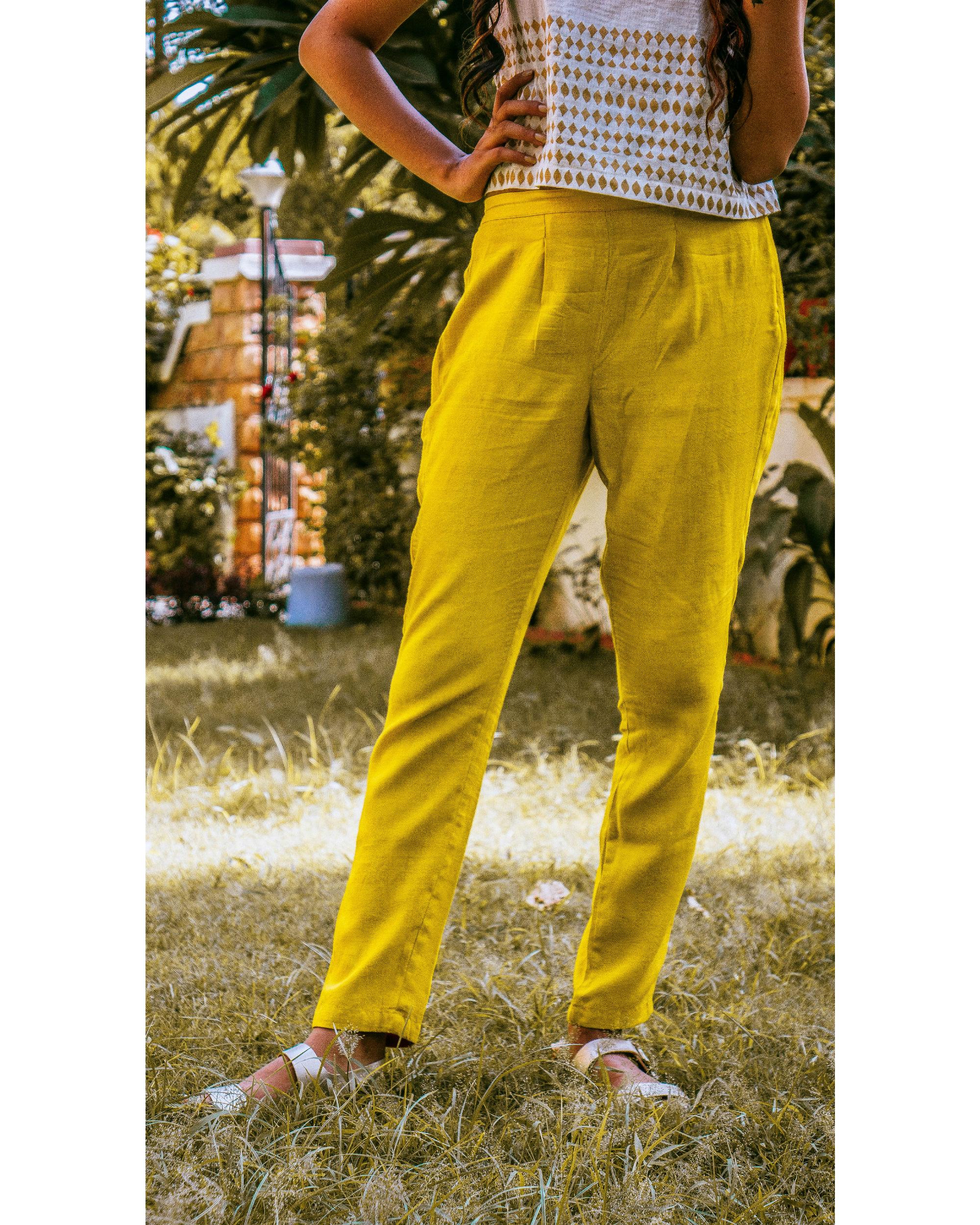 Mustard cotton trouser