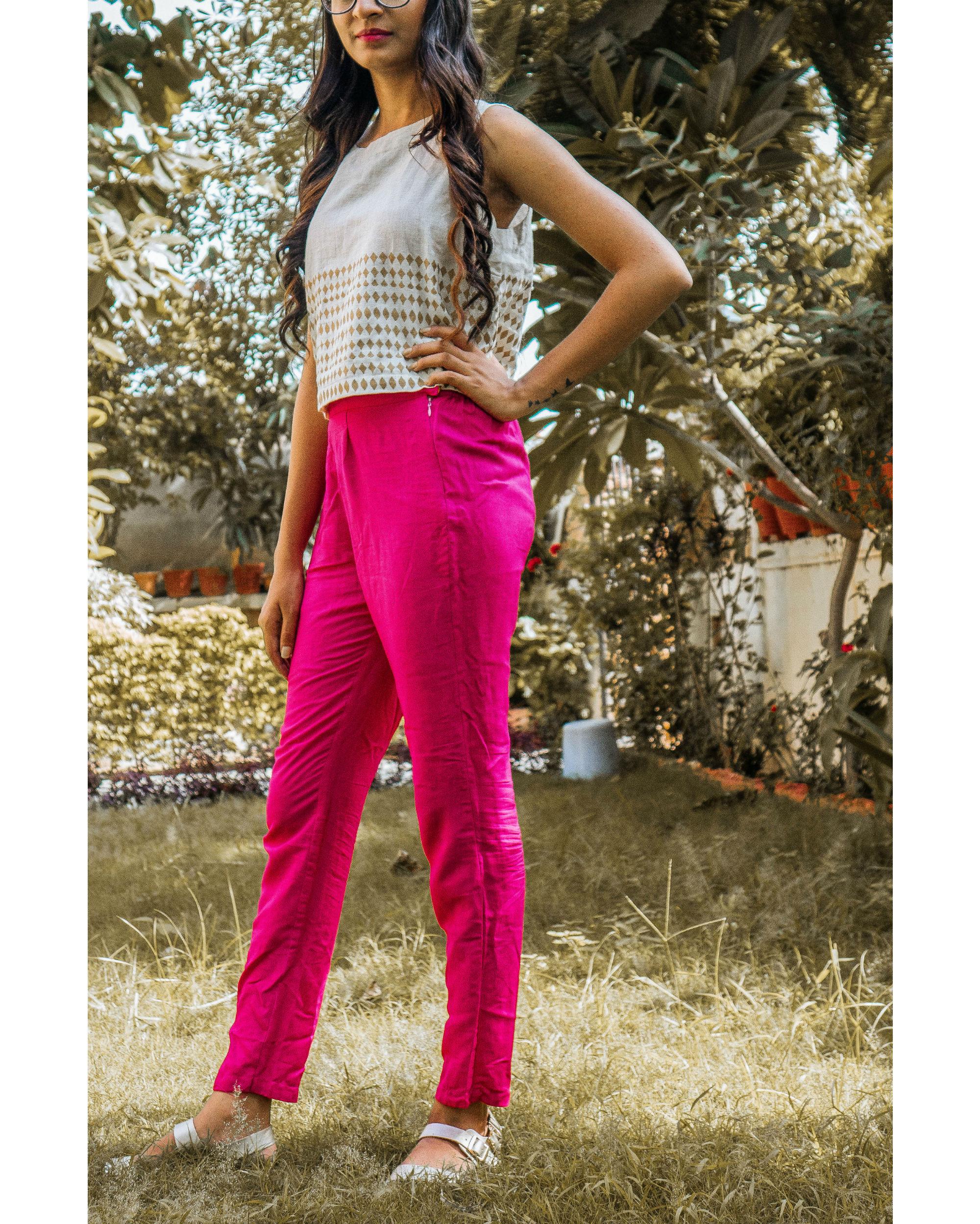 Pink tussar trouser