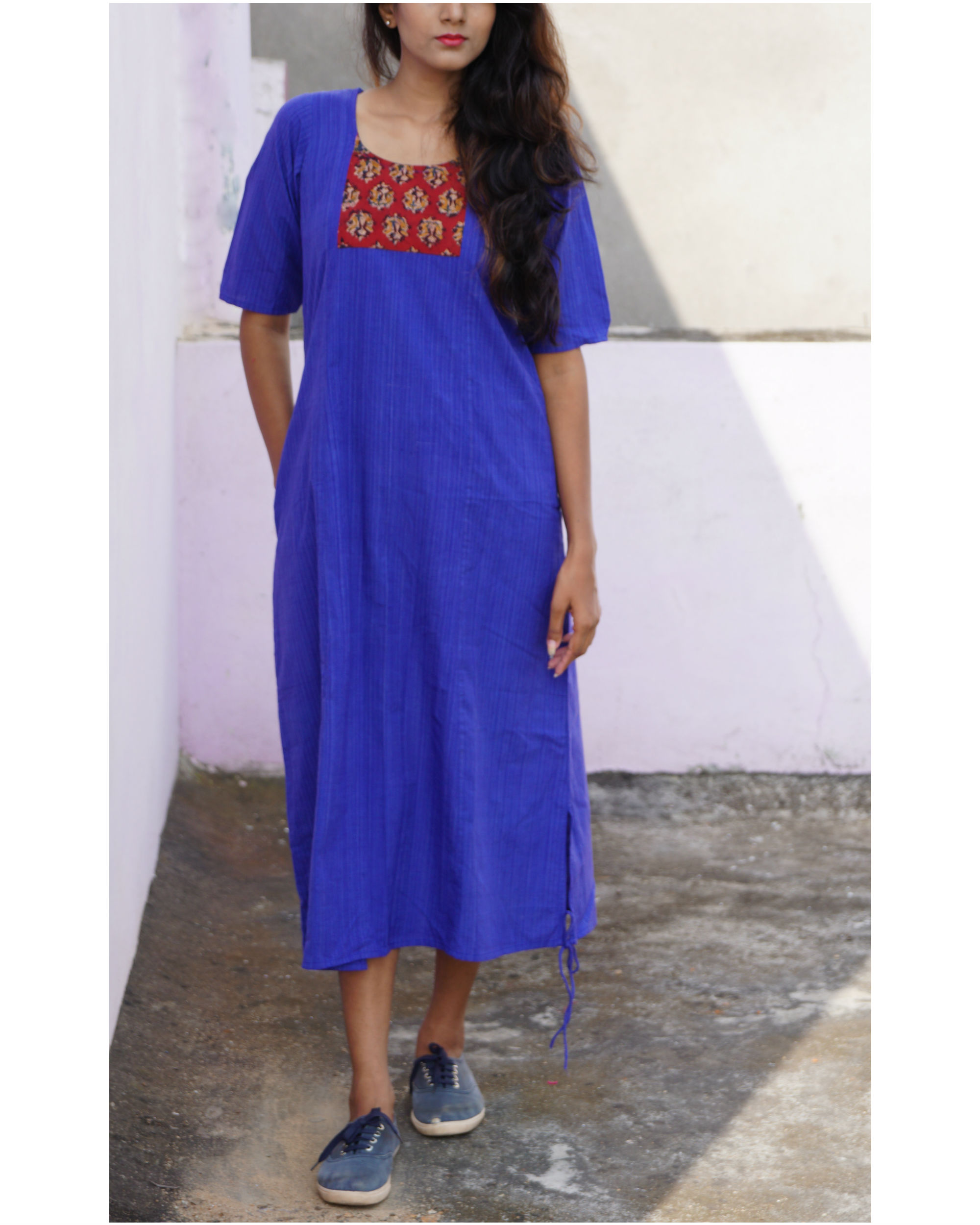 Blue tara slit dress