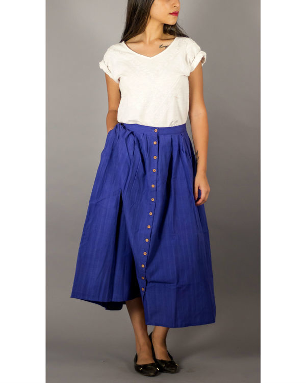 Blue buttondown skirt