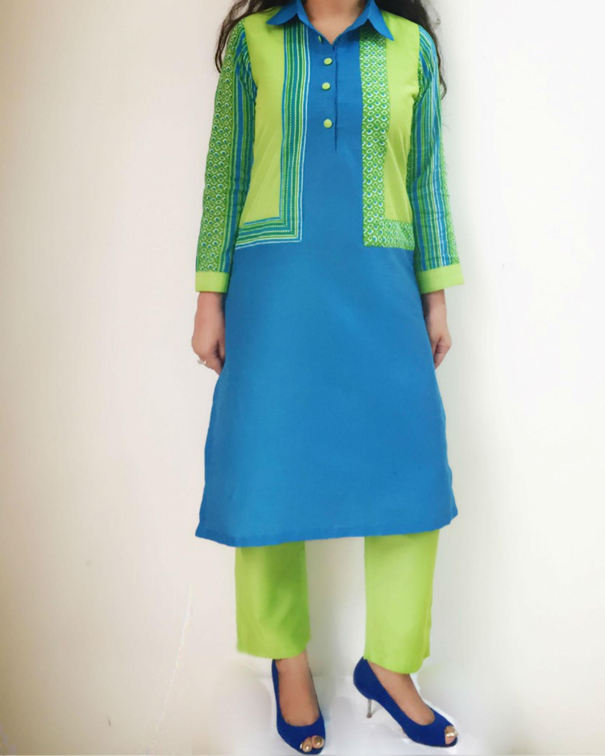 Blue green kurta set