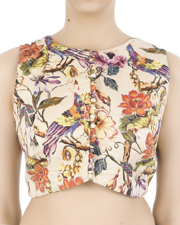 Bird print floral crop top