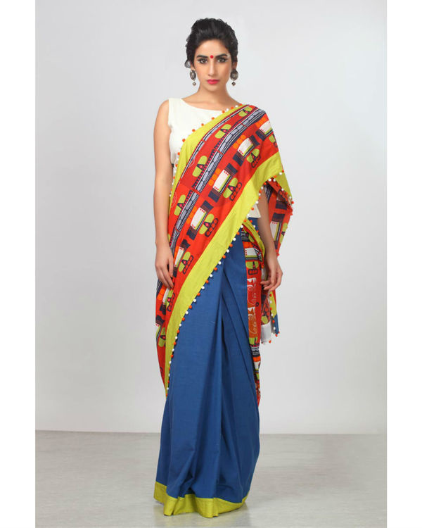 Urban blue and bright rust sari